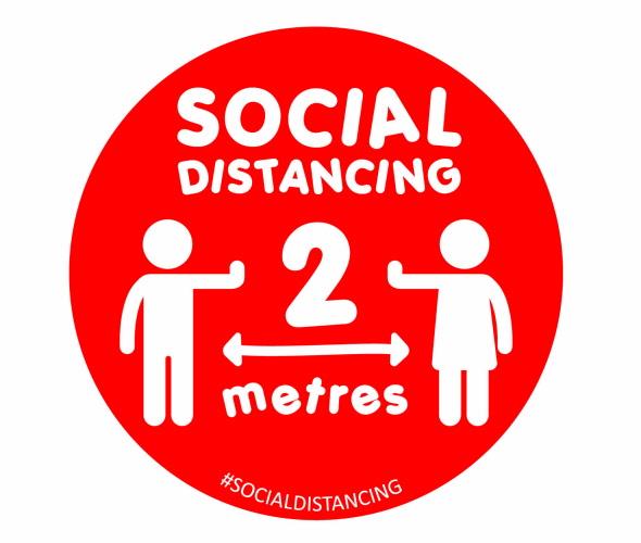 school social distancing floor sticker in red