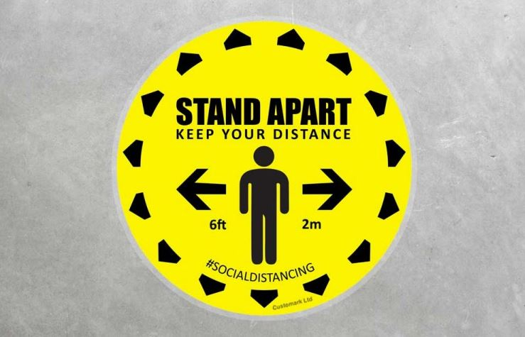 Stand apart social distancing floor sticker