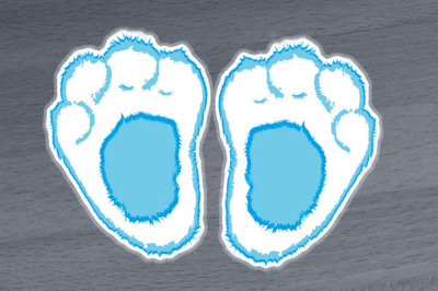Blue Furry Easter Bunny Footprint Floor Stickers