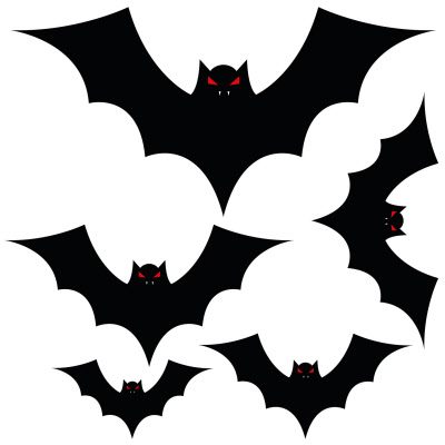 Halloween Bats Set Of 5 Vinyl Floor Stickers