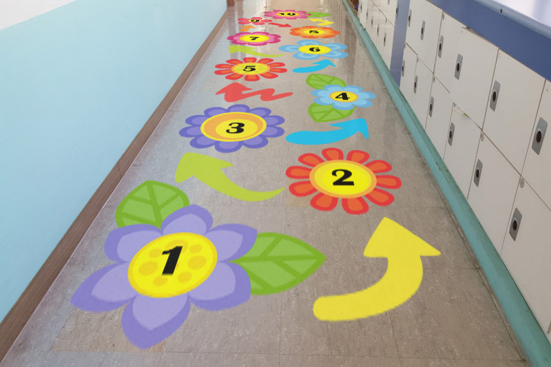 Sensory Pathway Floor Sticker Kit Flower Garden