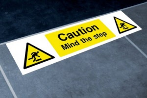 Example - 600mm x 100mm Mind the Step Floor Graphics