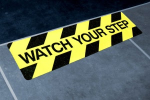 Example - 600mm x 100mm Watch Your Step Floor Graphics